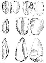 illustrazione di alcune selci ritrovate in prossimitA� del Riparo Dalmeri - fonte Museo di Scienze Naturali