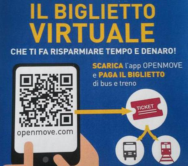 Locandina che pubblicizza la nuova app Open Move del servizio di trasporto pubblico del Trentino