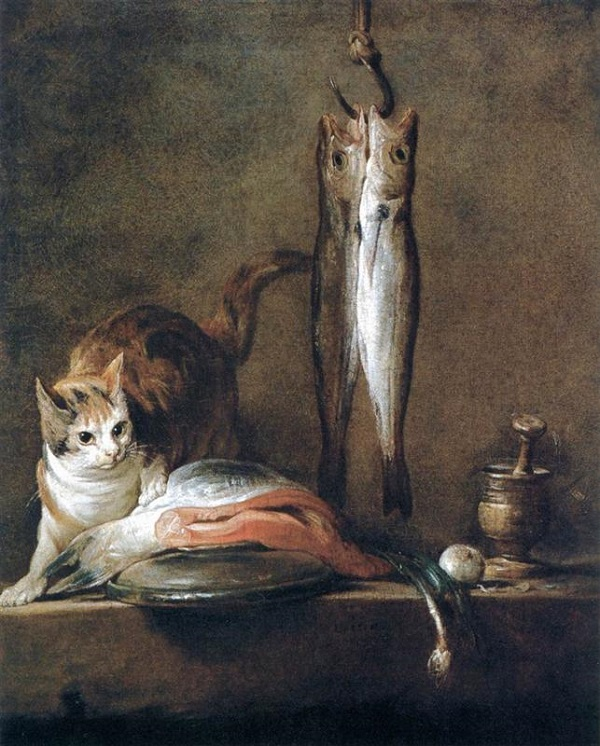 Jean Baptiste Simeon Chardin, Natura morta con gatto e pesce, 1728