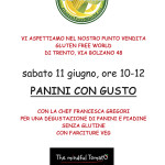 PANINI CON GUSTO – SABATO 11 GIUGNO A GLUTEN FREE WORLD
