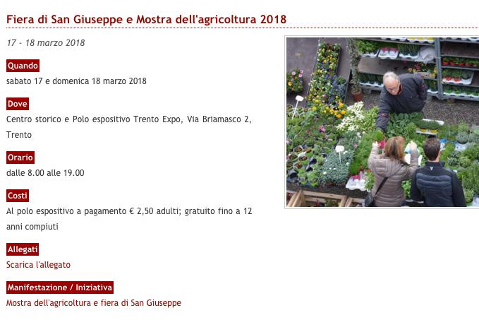 Trento Fiere Calendario.17 18 Marzo Fiera Di San Giuseppe E Mostra Dell Agricoltura
